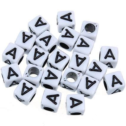 Koraliki modułowe literki alfabet litera A / akrylowe / biały, literka czarna / 6x6mm / 20szt-8912