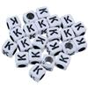 Koraliki modułowe literki alfabet litera K / akrylowe / biały, literka czarna / 6x6mm / 20szt-8922