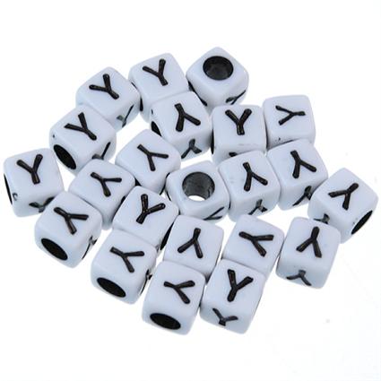 Koraliki modułowe literki alfabet litera Y / akrylowe / biały, literka czarna / 6x6mm / 20szt-8937