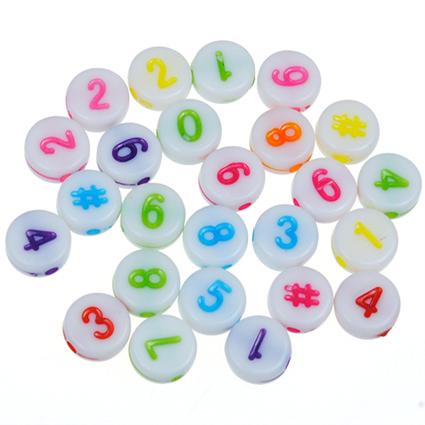 MIX koraliki cyferki liczby / akrylowe / 7x3mm / 20szt-7214