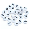 MIX koraliki cyferki / akrylowe / białe / 7x4mm / 100szt-8385