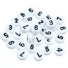 MIX koraliki cyferki / akrylowe / białe / 7x4mm / 20szt-7636