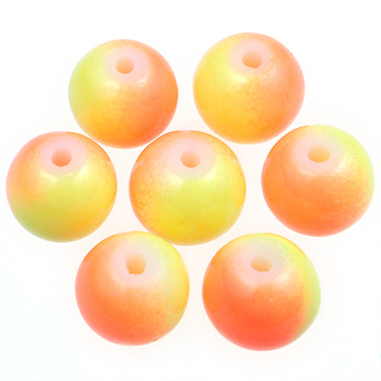 Koraliki DuoColor / szklane / żółto-pomarańczowe / 8mm / 20szt-7612