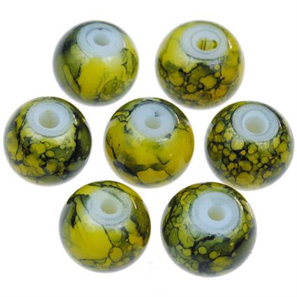 Koraliki powlekane marmurkowe / szklane / żółte / 8mm / 20szt-9108