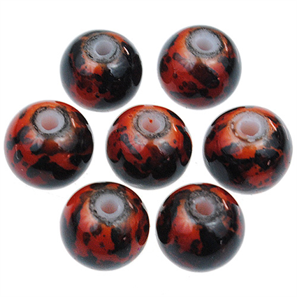 Koraliki powlekane marmurkowe / szklane / pomarańczowe / 8mm / 20szt-9114