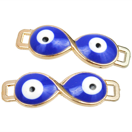 Łącznik Infinity oko proroka / emaliowany / metalowy / niebieski / 7.5x24x3mm / 1szt-7466