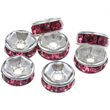 Przekładki z cyrkoniami / metal, cyrkonie / różowe / 6x3mm / 10szt-8498