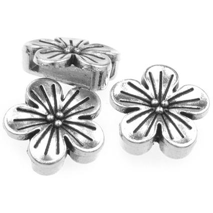 Nakładka na sznurki rzemienie kwiatek / metalowa / srebrna / 16mm / 1szt-8650