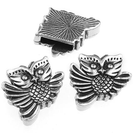 Nakładka na sznurki rzemienie sowa / metalowa / srebrna / 20mm / 1szt-8660