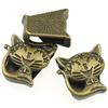 Nakładka na sznurki rzemienie kotek / metalowa / brązowa / 17mm / 1szt-8661
