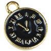 Zawieszka emaliowana charms zegar / metalowa / złota, czarna / 17.5x13.5x2mm / 1szt-8108