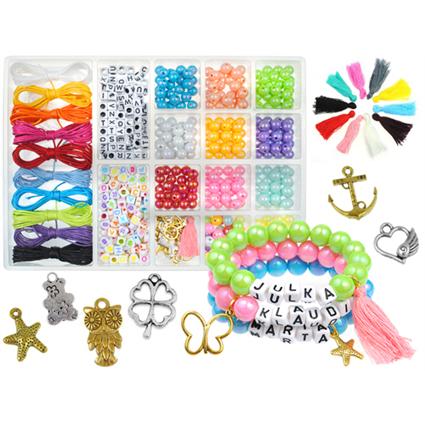 Zestaw koralików do robienia biżuterii bransoletek personalizowanych z imieniem z napisami-9545