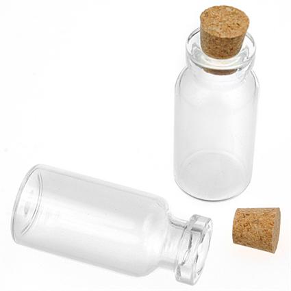Buteleczki z korkiem / szkło, korek / białe, transparentne / 35x16mm / 1szt-9149
