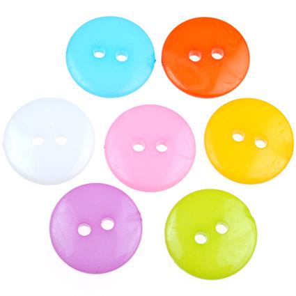 MIX guziki okrągłe guziczki kolorowe gładkie 15mm / 6szt-9786
