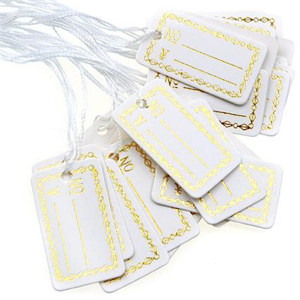 Metki do biżuterii bransoletek / papierowe / białe / 26x15mm / 20szt-8703