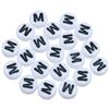 Koraliki okrągłe literki alfabet litera M / akrylowe / biały, literka czarna / 7x4mm / 20szt-9863