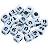 Koraliki mix cyferki cyfry / akrylowe / biały / 6x6mm / 20szt-10111