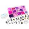 Zestaw do robienia bransoletek z koralików szklanych / różowo-fioletowy / 20 zawieszek / 175x100mm-9410