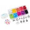 Zestaw do robienia bransoletek z koralików szklanych / mix kolorów / 10 zawieszek / 125x65mm-9436