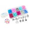 Zestaw do robienia bransoletek z koralików szklanych / biało-różowo-niebieski / 10 zawieszek / 125x65mm-9437