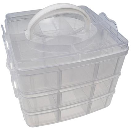 Organizer kuferek trzypiętrowy / plastikowy / bezabrwny / 155x160x130mm / 1szt-9383