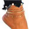 Komplet bransoletek łańcuszkowa złota gwiazdki na nogę / 1kpl-10554