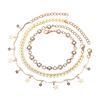 Komplet bransoletek łańcuszkowa złota gwiazdki na nogę / 1kpl-10557