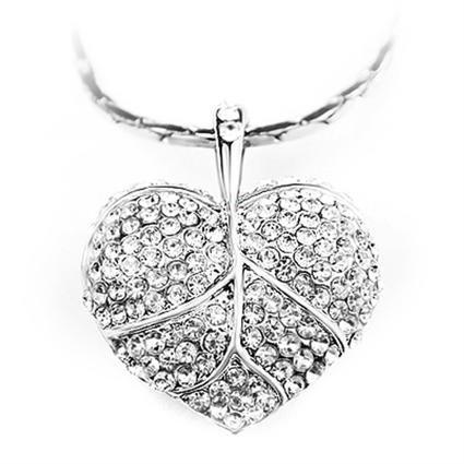 Naszyjnik z cyrkoniami duże serce / srebrny / 43cm / 1szt-7242