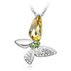 Naszyjnik z cyrkoniami motylek / srebrny, żółty, zielony / 43cm / 1szt-7226