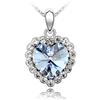 Naszyjnik kryształ z cyrkoniami serce oceanu / srebrny, niebieski / 43cm / 1szt-7227