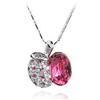 Naszyjnik kryształ z cyrkoniami jabłuszko apple / srebrny, różowy / 43cm / 1szt-7231