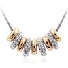 Naszyjnik rings z obręczami cyrkonie / srebrny, złoty / 43cm / 1szt-7235