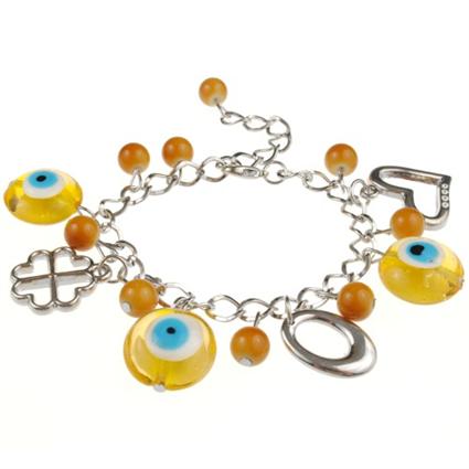 Bransoletka charms z zawieszkami lampwork oko proroka / żółta / 17cm-5362